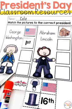 President's Day books, videos, and resources perfect for your primary students. George Washington and Abraham Lincoln free resource included! Informations A Kindergarten Units, Kindergarten Social Studies, Social Studies Activities, Kindergarten Lesson Plans, Teaching Social Studies, Kindergarten Crafts, Fun Activities, Abraham Lincoln For Kids, Interactive Journals