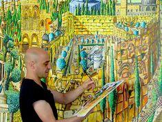 "raphael perez naive painter naife artist folk painters artworks landscape paintings folk art Naive paintings photos of Jerusalem city art by raphael perez ""א. Painter Artist, Artist Painting, Paint Paint, Naive Art, Artist Gallery, Urban Landscape, Various Artists, Superwholock, Landscape Paintings"