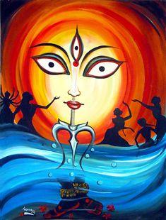 Durga Maa Paintings, Durga Painting, Indian Art Paintings, Modern Art Paintings, Art Drawings For Kids, Art Drawings Sketches Simple, Modern Indian Art, Goddess Art, Durga Goddess