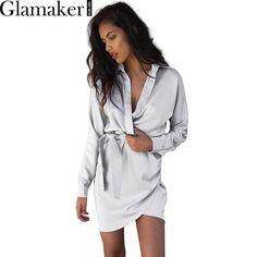 Glamaker autunno cintura in raso wrap dress shirt manica lunga elegante partito sexy dress 2016 inverno club corto donne dress vestidos
