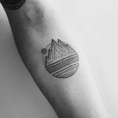 Circular Mountain Tattoo by Mike Stout