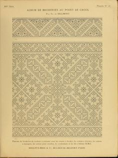Album de broderies au point de croix - Dillmont - 1885 - found via Archive.org - texts Free Download, Pattern Books, Le Point, Cross Stitching, Good Books, Needlework, Embellishments, Embroidery, Sewing