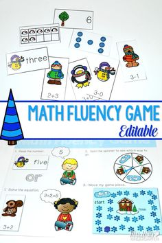 Math fluency game for kindergarten and first grade.  perfect activity for centers or stations.  numeral recognition, ten frames, subitizing, addition, and subtraction cards.  Plus it is editable! Teachers can create their own questions.