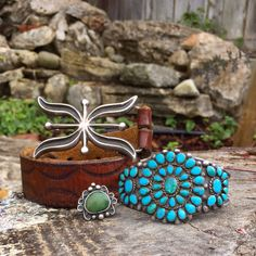 Navajo buckle and ring with Zuni bracelet