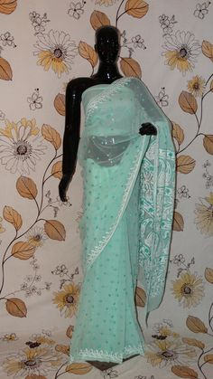 Chikankari Sea Green Georgette Saree - Silk thread Chikan all over and heavy pallu