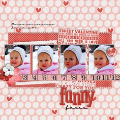 Sequence photos are awesome and this layout from Kara really shows them off in such a sweet way. Look at that pretty baby's face - darling!