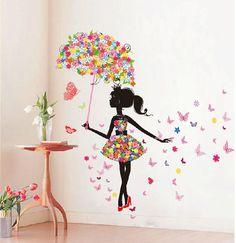 Butterfly Girl Removable Wall Art Sticker Vinyl Decal DIY Room Home Mural Decor