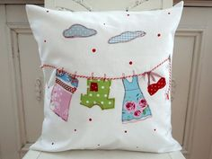 """Sewing Cushions Cushion cover """"funny clothesline"""" - embroidery - Cushion cover """"funny clothesline"""" Source by Applique Cushions, Cute Cushions, Sewing Pillows, Diy Pillows, Decorative Pillows, Couture Bb, Applique Designs, Applique Patterns, Diy Pillow Covers"""