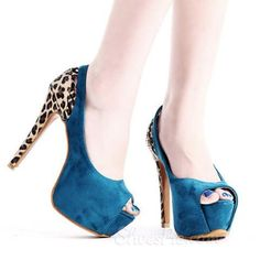 #Sexy Matching #Color Leopard #Cut-outs #Peep-toe #Heels