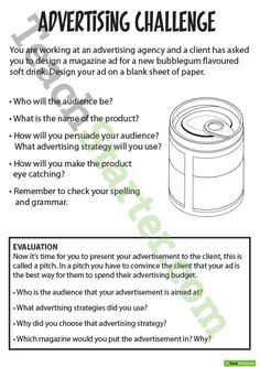 Advertising Resource Pack Teaching Resource An educational resource pack with persuasive writing tasks and worksheets about advertising. http://teachstart.co/1mvNKFJ