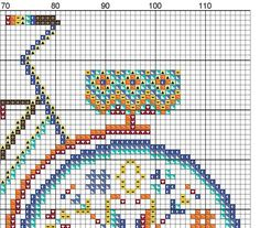 Summer bike with basket in bright colors  modern cross stitch by PatternsCrossStitch | Etsy