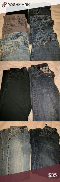 Bundle of jeans Bundle of Six! All are skinny jeans except the pair with plaid inside. That pair are straight fit and flannel lined. Great buy, under $6 per pair! These are like new. Waists are adjustable. Old Navy Bottoms
