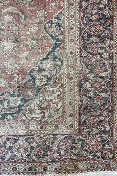 A close look at one of our Kashan design vintage rugs. Handmade with wool on a cotton base. Size 12' x 9'. #rugs #vintage #arearugs #vintagerugs #handmaderugs Transitional Area Rugs, Muted Colors, Handmade Rugs, Vintage Rugs, Wool Rug, Bohemian Rug, Size 12, Base, Cotton