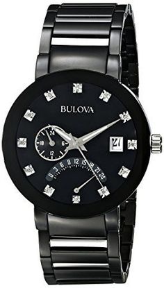 Bulova Men's Diamond-Accented Black Stainless Steel Watch Diamond Watches For Men, Mens Watches For Sale, Best Watches For Men, Stylish Watches, Cool Watches, Men's Watches, Luxury Watches, Dress Watches, Casual Watches