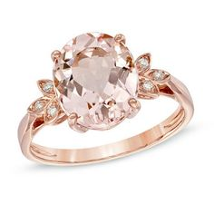 Oval Morganite and Diamond Accent Ring in 10K Rose Gold - View All Rings - Zales from Zales. Saved to Things I want as gifts. #ring.