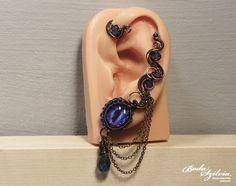 Dragon EYE EAR WRAP purple and bronze ear wrap by bodaszilvia