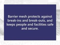 Our barrier mesh ensures protection and safety because it offers strength and flexibility. Learn more about our barrier meshes at https://www.youtube.com/watch?v=gshKrceF7j8