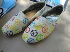 Peace Signs Custom TOMS shoes