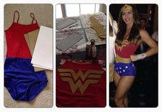 DIY Wonder Woman You'll need:  Navy high waisted hot pants Red top (spaghetti, tube, or leotard)  White sticky back felt sheet for stars Gold foam sheets for belt, crown, and logo Silver foam sheets for wrist bands Red star stickers for crown and wrist bands Gold and silver acrylic paint  Spray adhesive to apply logo to top  Old waist belt to create gold belt  Old head band for crown  Hot glue gun for belt and crown  Sticky back Velcro for wrist bands 4' rope for laso WW logo printed to…