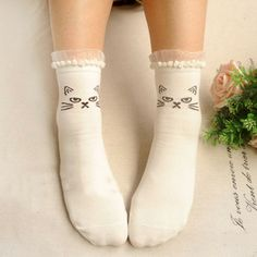 Lace Trim Cat Socks - white sold by Sandysshop. Shop more products from Sandysshop on Storenvy, the home of independent small businesses all over the world. Baby Tights, Cute Little Things, My Socks, Tight Leggings, Sock Shoes, Hosiery, Fashion Shoes, Style Fashion, Lace Trim
