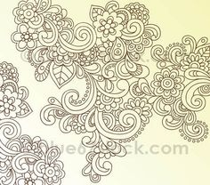 Hand-Drawn Psychedelic Paisley Henna Tattoo Doodle with Flowers and | http://desktopwallpapercollections.13faqs.com