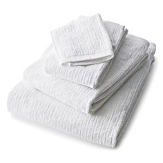 Ribbed White Bath Towels | Crate and Barrel