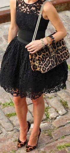 Steal The Fashion: Black Lace Mini Dress With Leopard Belt Handbag