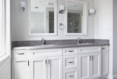 Transitional Bathroom Renovation located in Oakville, Ontario. #Design #BathroomDesign #TransitionalBathroom #Aquabrass #Cambria #InstaH2O