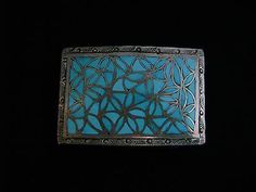 Vintage-Zuni-Turquoise-Inlaid-Belt-Buckle-Channel-Inlay-Signed-JL-Hechilay