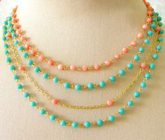 Turquoise and coral.