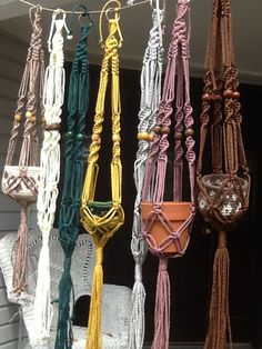 Small Macrame Plant Hangers, 4 mm Polyolefin cord, colorful choices of green, yellow, brown, gray, rose, white, black, purple, off white