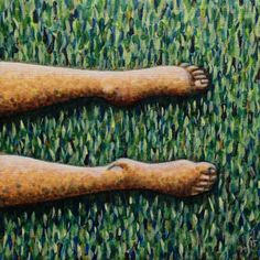 Part 4 (grass) of foursome 'On the Beach', 20x20cm, oil on canvas - www.marcelstraver.nl