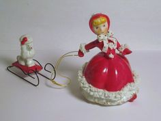 VERY RARE Vintage Christmas Red Dress TMJ Porcelain Shopper Girl pulling Poodle on Wire Sleigh Japan Spaghetti trim Decoration Ornament on Etsy, $145.00