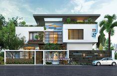 Công Ty KHÔNG GIAN MỚI chuyên thiết kế và xây dựng Biệt Thự, Nhà Đẹp trọn gói, chìa khoá trao tay: Liên hệ: 0937669966 Front Elevation Designs, House Elevation, Duplex House Design, Tropical Architecture, Live In Style, Affordable Housing, Home Fashion, Exterior Design, My House