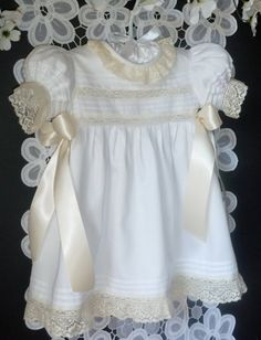 Handmade Girls Heirloom Dress Available Sizes by justforbabyonline, $175.00