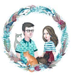 Посмотреть иллюстрацию Богданова Дарья - Семейный портрет на заказ. Рисовала очень милую семейную пару и их котиков)