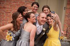 Groom with bridesmaids selfies