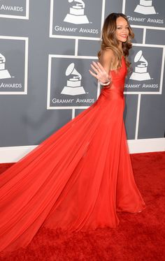 Rihanna in Azzedine Alaïa was voted best dressed at the Grammys