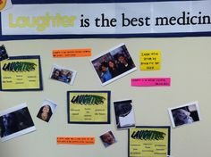 Laughter is the best medicine bulletin board in school health office.