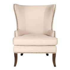 Relax in style with this transitional style wingback chair in your home. The chair features small gold nailhead details surrounding its frame, producing a distinctive appearance. Solid pattern ideal f