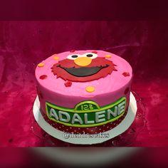 Elmo cake, girly, birthday, red, pink, polkadots, flowers, buttercream