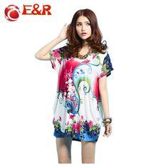 2016 New Retail Spring And Summer Fashion Large Size Dresses Loose Short-Sleeved Bohemian  Ice Silk sweatshirts Chiffon T-shirts