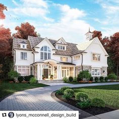 Dream house exterior - Stone and white cedar siding on this home 🙌 And this landscaping design 👌💯 mcconnell design build buildersofig siding… Dream Home Design, My Dream Home, House Design, Garden Design, Future House, My House, Cedar Siding, Brick Siding, White Cedar