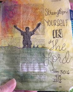 """And David was greatly distressed, for the people spoke of stoning him, because all the people were bitter in soul, each for his sons and daughters. But David strengthened himself in the Lord his God."" ‭‭1 Samuel‬ ‭30:6‬ ‭#strengthfromgod #icolorinmybible #biblejournaling #ilovecrinklypages"