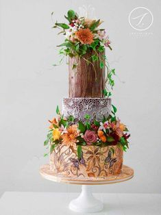 Autumn butterfly enchanted forest wedding cake by Joyce Marx on satinice.com!