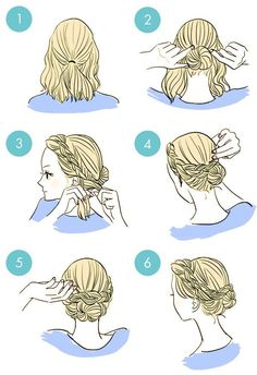 Braiding the hair in front Easy and nice looking bun A bow for short hair Use a pin for hair in front (in a color matching your dress) like this: Braid the hair in...
