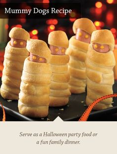 Mummy Dogs Recipe - Serve as a Halloween party food or a fun family dinner.