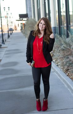 A gorgeous red and black outfit idea for Valentine's Day. A simple red tee paired with black faux leather leggings, black blazer and gorgeous gold and red booties. The perfect date night outfit idea.
