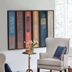 DIY inspiration: take photos of vintage book spines, blowup and prints