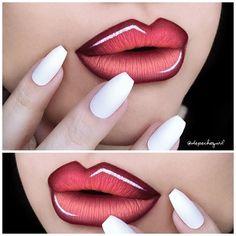"""@nailhur All White Squaletto Nails. @illamasqua Severity Lip Liner. @pinkyrose_4u Aloha and Sunkiss Liquid Matte Lipsticks. @nyxcosmetics White Liquid…"""